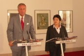 Džamila Stehlíková a Mirek Topolánek na tiskové konferenci