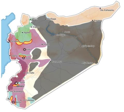 Ruská mapa příměří v Sýrii, únor 2016